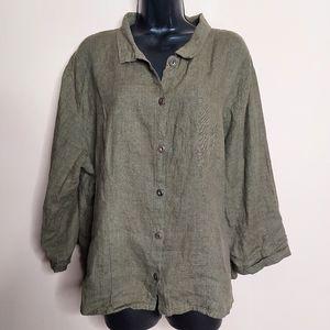 Flax loose fitting linen button up shirt